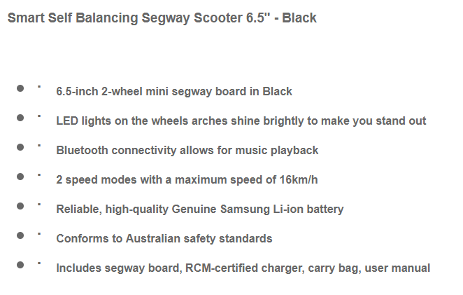 6.5 inch black smart hoverboard5